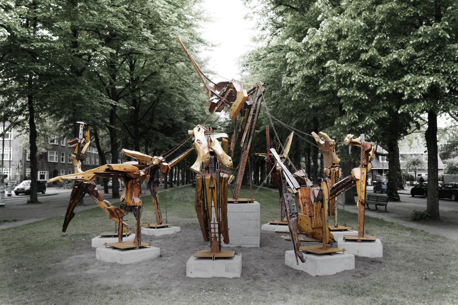 Ivan Cremer, Birth of Apollo, 2019, hout en staal, Apollolaan Art Zuid