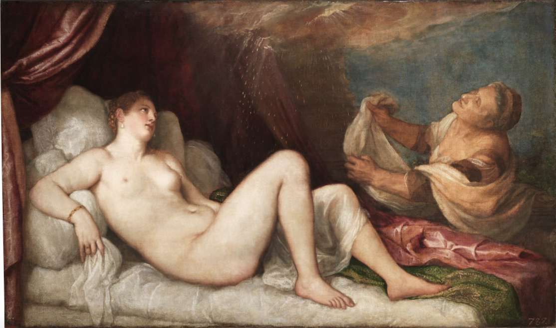 Titian, Danaë, ca. 1551–3, Olieverf op doek, 114.6 × 192.5 cm, Wellington Collection, Apsley House, London, © Stratfield Saye Preservation Trust