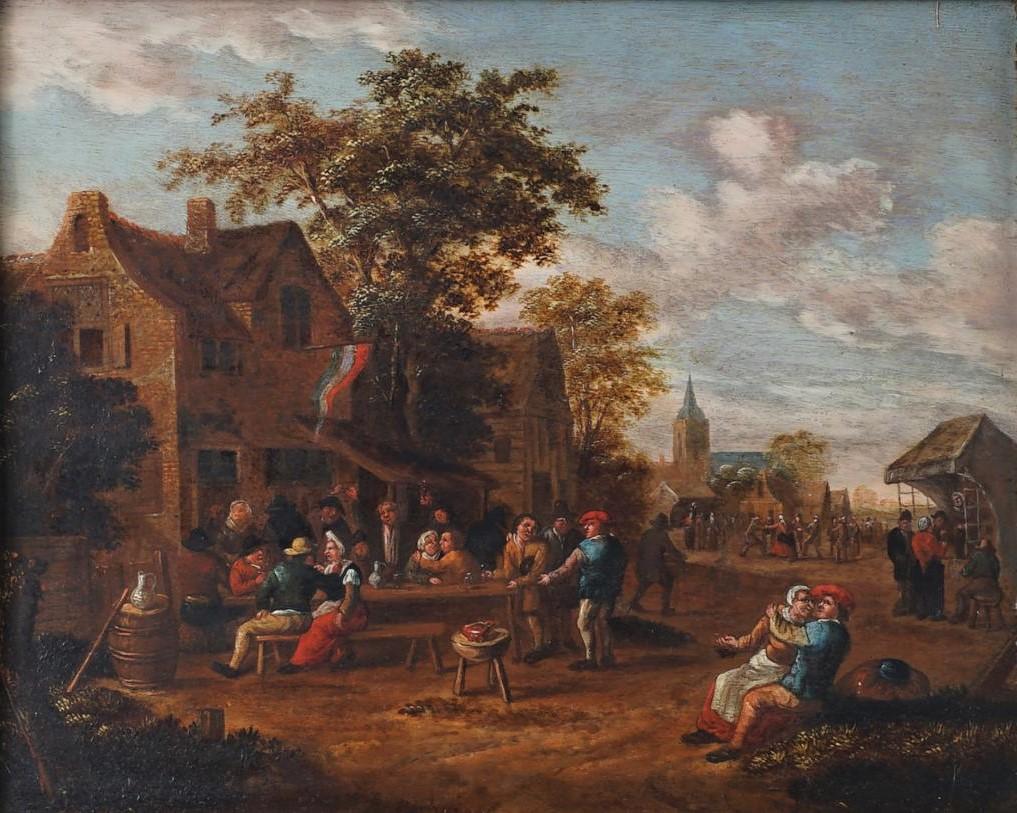 Rutger Verburg, Boerenfeest, ca. 1700, 27 x 33 cm, olieverf op paneel