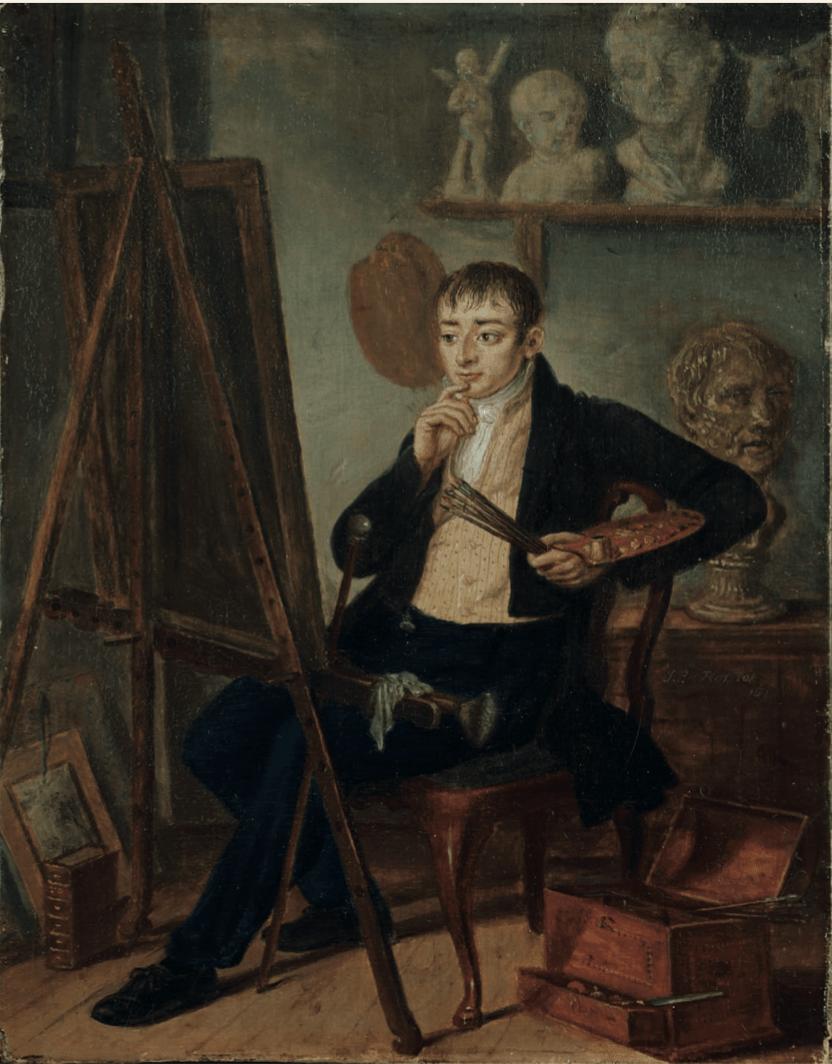 J. P. van Horstok, Portret van een kunstenaar in zijn atelier, 1816, olieverf op paneel, 25,5x20cm. (particuliere collectie courtesy Ubbens Art)